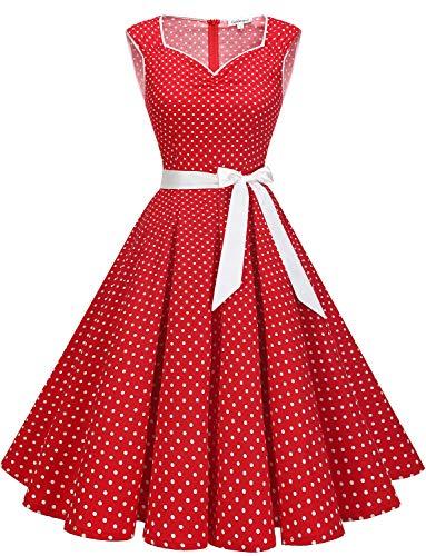 Gardenwed Abito da Donna Vintage Anni '50, con Maniche a A, Stile retrò, Stile Vintage Red Small White DOT XS