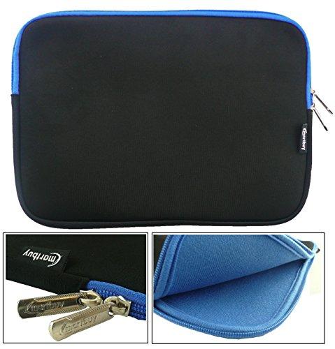 Emartbuy® Schwarz/Blau Wasserdicht Neopren weicher Reißverschluss Kasten Sleeve Mit Blau Interieur&Zip geeignet für Acer Aspire One AO1-131 Cloudbook 11.6 Zoll (11.6-12.5 Zoll Laptop)