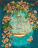 pintura al óleo Pintura al óleo Kit Jaula de pájaros de flores Adultos y Niños De Lona Preimpresos Pintura para la Decoración De La Casa 40 x 50 cm Sin Marco