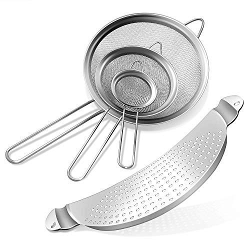 TarnTlio [4 Sätze] Edelstahl Küchensieb feinmaschig,Fine Mesh Kitchen Sieve Flour Sieve Set mit 3 Größen 7/12/18cm, Pouring Aid, Stainless Steel for pots up to 33.2 cm