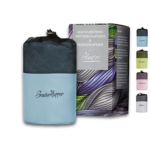 NEU: Slumber® Hüttenschlafsack | Pastellblau | 3 Funktionen Reiseschlafsack | Schlafsack Inlett Mikrofaser Weich & Hochwertig | Reißverschluss & Bettbezugfunktion | Individuelles Design