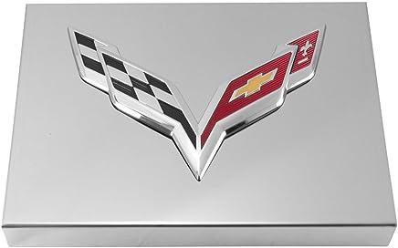 2014+ c7 corvette polished fuse box cover - chrome flags logo