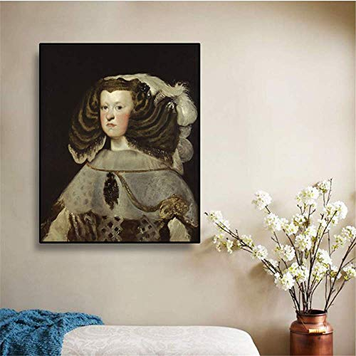 YaShengZhuangShi Lienzo Arte Paredes Pintura 60x90cm sin Marco Margarita de Austria Reina de españa》 Diego Velázquez Cuadro de Arte Decoración de Pared Decoración Moderna para el hogar