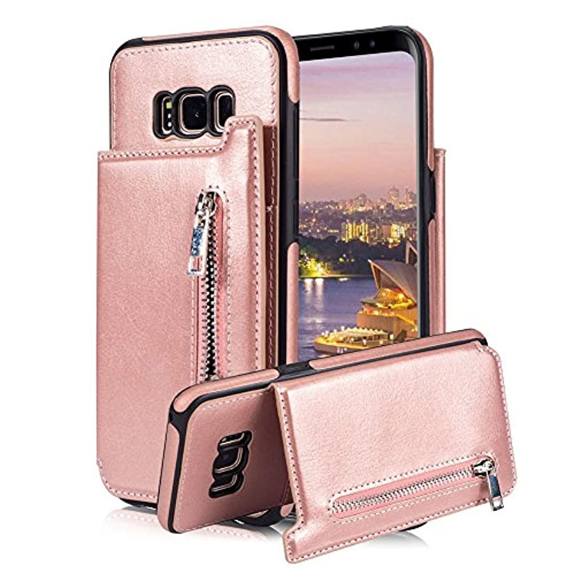 For Samsung Galaxy S8 Plus Pocket Case, Aearl TPU Bumper Shell Back Magnetic Closure Vintage PU Leather Cover Zipper Wallet Purse Card Holder Slot Kickstand Case for Samsung Galaxy S8 Plus - Rose Gold