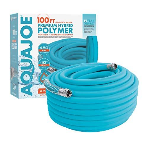 Aqua Joe AJPGH100-DWS 5/8 in 100 Ft. Hybrid Polymer Flex Kink Free Hose, Drinking Water Safe