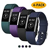 Fondenn Bands Compatible with Fitbit Charge 2 for Women and Men (4 Pack), Classic Adjustable Soft Silicone...