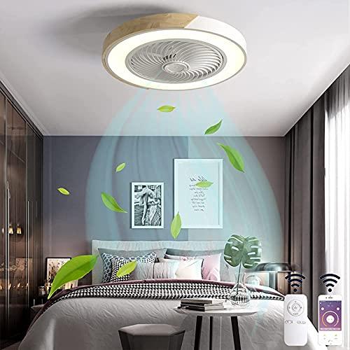 Redondo Plafón de Madera LED Ventilador de Techo con Luz Silencio Invisible Ventilador Lámpara con Mando a Distancia Regulable 3 Velocidades del Viento Fan Luces para Dormitorios Restaurante Blanco
