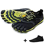 Desconocido Vibram Fivefingers V de Run Men – Set – Running Dedos Guantes/Bar Soporte con grais Calcetines de Cinco Dedos, Negro/Amarillo, 47 EU