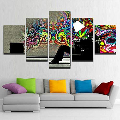 Cuadro sobre Impresión Lienzo 5 Piezas -Mural Moderno 5 Piezas,Lámpara Psychedelic Graffiti Man Dormitorios Decoración para El Hogar -No Tejido Lienzo Impresión- Modular Poster Mural-Listo para Colgar