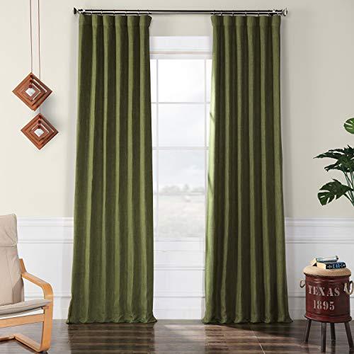 HPD Half Price Drapes BOCH-LN18520-96 Faux Linen Blackout Room Darkening Curtain (1 Panel), 50 X 96, Tuscany Green