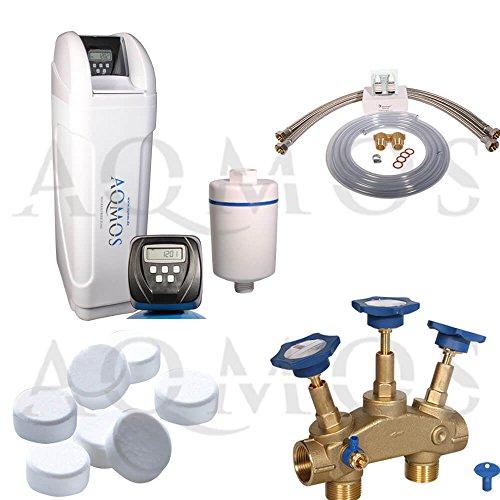 Hochwertige Aqmos CM-60 Wasserenthärtungsanlage im Set mit Montageblock und 100kg Regeneriesalztabletten, Wasserenthärtungsanlage für Haushalte bis zu 5 Personen, Entkalkungsanlage, Antikalkanlage