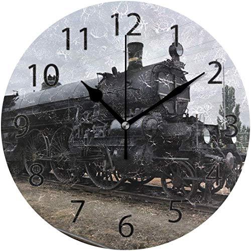 xinfub Wanduhr, rund, 25,4 cm Durchmesser, leise, alte Dampflokomotive, Eisenbahn, Dekoration für Zuhause, Büro, Schule