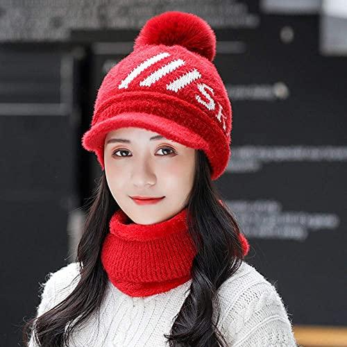 ASDWA Sombrero de Lana con Lengua de Pato para Mujer otoño e Invierno Gorros de Punto de Todo fósforo Que montan la Cubierta del Babero a Prueba de Viento para Mantener el Traje Rojo cálido