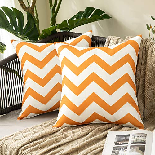 MIULEE Pack of 2 Outdoor Waterproof Cushion Cover with Wave patterns Throw Pillow Case Home Decorating Protectors for Tent Park Bed Sofa Chair Bedroom Decorative 45x45cm 18x18inch Orange