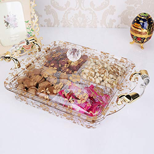 SHEDRWE Golden Candy Nuts Transparenter Obstdeckel Snack Tablett Sonnenblumenkern Obstteller | Geschirr