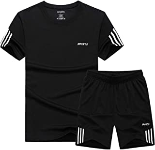 Men's Casual Tracksuit Short Sleeve Athletic Sports T-Shirts and Shorts Suit Set