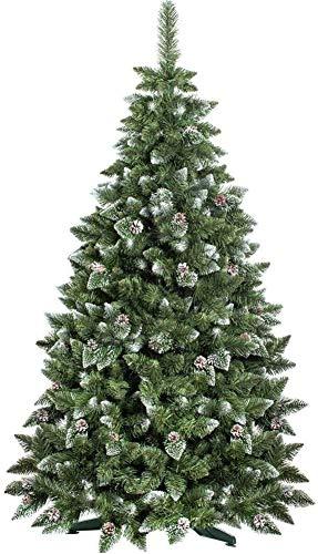 BAKAJI Albero di Natale Folto Pino King Premium Artificiale Innevato con Pigne, Bianco Naturale Punte Ricoperte di Neve Base a Croce, Altezza 250 cm, 1600 Rami Ingnifugo (250cm)