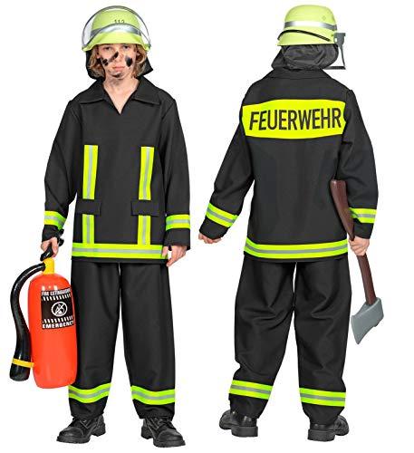 24costumes Feuerwehr Kostüm   3-teilig: Oberteil, Hose & Helm   Kinder & Jugendliche   authentisches deutsches Design: Größe: 128