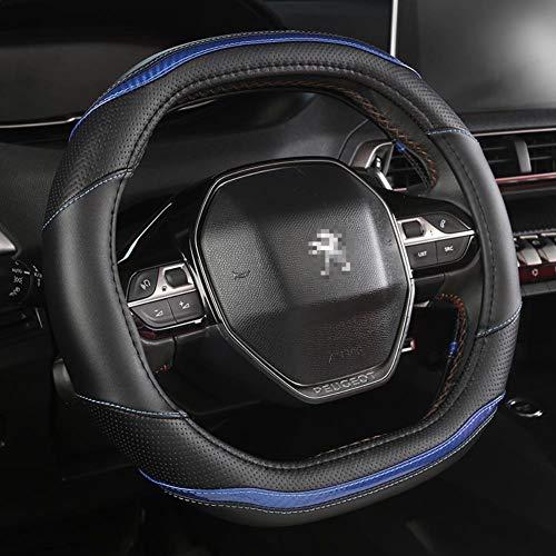 MDHANBK Cubierta de Volante de Coche Fibra de Carbono + Accesorios de Coche de Cuero PU Interior, para Peugeot 208 2020