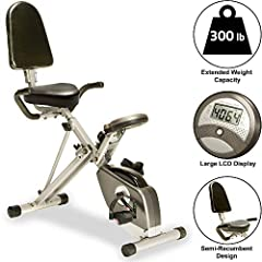 Foldable recumbent exercise bike with quiet V-belt double-drive transmission system Precision-balanced flywheel; 8-level adjustable magnetic tension control system Easy-to-read LCD display tracks your distance, calories, time, speed, and heart rate C...