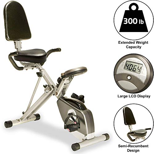EXERPEUTIC 300SR Heavy Duty 300 LBS Weight Capacity Foldable Recumbent Bike with Balanced Flywheel,...