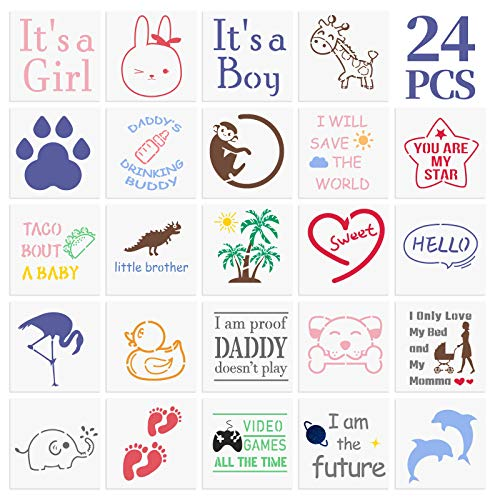Onesie Stencil Kit- 24PCS Cute Animals Warm Words Painting Stencils Onesie Decorating Kit Baby Shower Reusable Templates for Painting on Fabric Onesie Bodysuit Home Décor