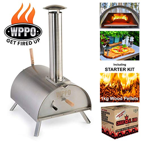 WPPO Lil Luigi Multi-Fuel Deluxe Stainless Steel Outdoor Pizza Oven, Wood Fired Portable Oven and BBQ, Built-In Thermometer + FREE Chef's Kit, Protective Cover, Premium Charcoal & 1 kg Pellets