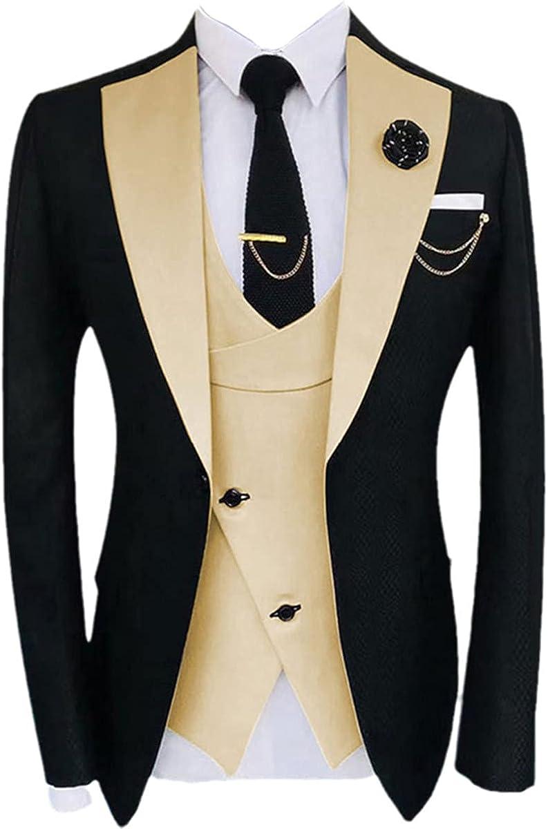 Men's Popular Clothing Luxury Party Stage Suit Best Man Regular Tuxedo 3-Piece Jacket + Pants + Vest