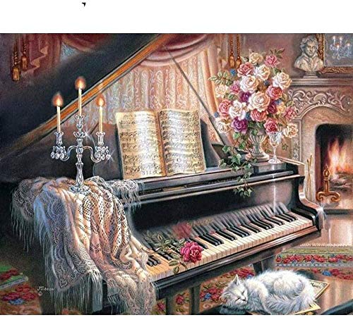 Cross Stitch Kits,Piano Candle,11CT Stamped Needlepoint Printed Pattern Kits Cross-Stitching Sewing Embroidery for Home Decor