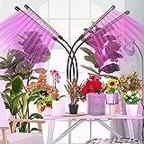 Grow Light, Led Cultivo Interior con 80 LED, Espectro Completo, Brillo de 10 Niveles Ajustable y Tubo Giratorio 360 ° de 4 Cabezales para la Germinación, el Crecimiento y la Floración de las Plantas