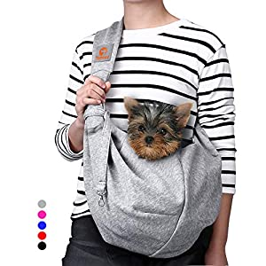 TOMKAS Small Dog Cat Carrier Sling Hands Free Pet Puppy Outdoor Travel Bag Tote Reversible(Grey – unadjustable Strap for 3-10 lbs)