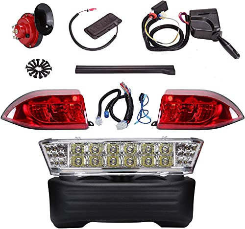 10L0L Street Legal Golf Cart LED Headlight Tail Light Kit,Turn Signal Switch Horn Brake Lights with 9-pin Deluxe Upgrade Kit Fits Club Car Precedent Electric Golf Carts (Must Input 12 Volts)