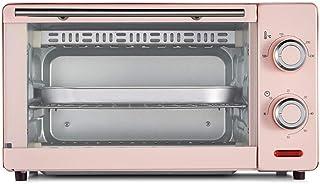 PLEASUR Mini Horno de 11L, Horno de Banco 1000W Parrilla Doble con Temporizador de 60 Minutos Incluye Bandeja de escoria separada 8 alitas de Pollo, Pastel de Gasa de 8 Pulgadas (Color: Rosa)