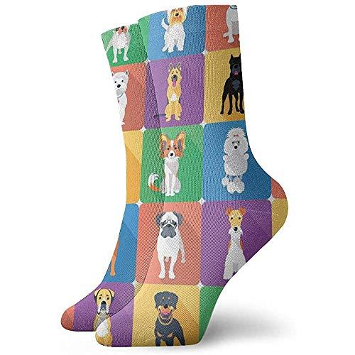 Kevin-Shop Gemusterte Kleidersocken für Männer und Frauen Hunde Bunte lustige Neuheit Verrückte Mannschaftssocken