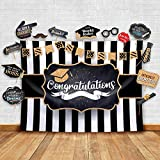 2020 Graduation Party Backdrop - Classy Black, White and Gold Theme Photography Fabric Backdrop and Studio Props DIY Kit. Great as Photo Booth Background Party Supplies and Prom Banner Decorations