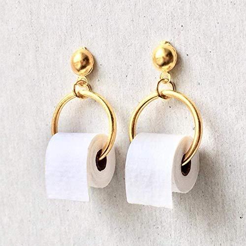 Boucle d'oreille nouvelles boucles d'oreilles drôles 3D rouleau papier balancent boucle d'oreille géométrique boucles d'oreilles créatives essuie-tout papier toilette goujons pour femmes couleur or