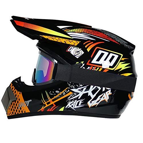 R&P Casco da motocross, set di caschi da MTB integrale per adulti da esterno Casco da motociclista per moto da fuoristrada da fuoristrada in discesa (arancia,S)