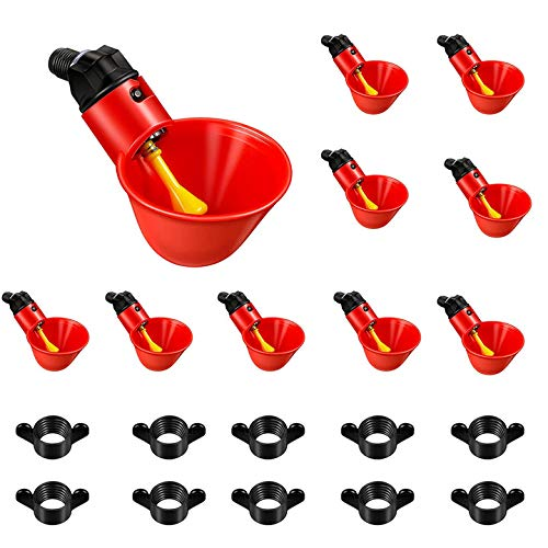 OZiO Poultry Waterer Chicken Water Cups,10 Pack Automatic Chicken Water Nipple Cup Waterer Kit for Poultry for Quail Chicken Hen