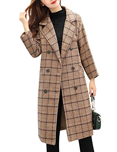 Tanming Women's Double Breasted Long Plaid Wool Blend Pea Coat Outerwear (Large, Khaki)