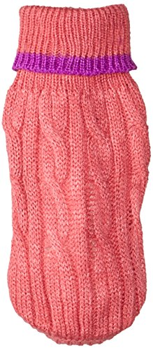 Fashion Pet Classic Cable Sweater | Dog Sweater | Leash Hole | Stylish Turtleneck Design | 100% Acrylic , Warm and Comfortable | Pink | XXX-Small | By Ethical Pet