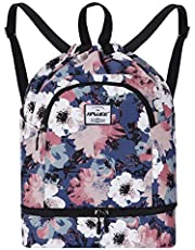 HAWEE Dry Wet Drawstring Backpack with Shoe Compartment for Women Girls Gym Bag