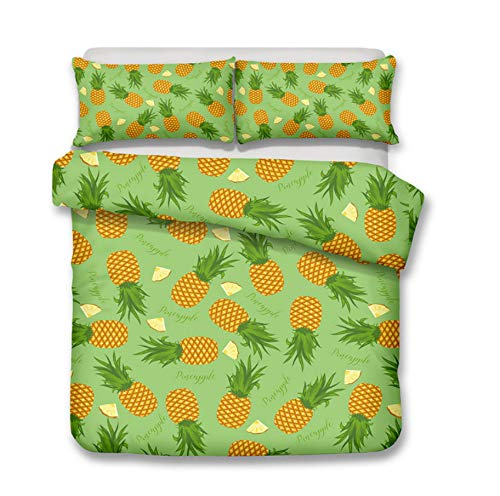 HDBUJ Digital Pineapple Print Green Duvet Cover, With Zipper, Soft Polyester Bedding, Easy Maintenance, Two Pillowcases 240X220Cm