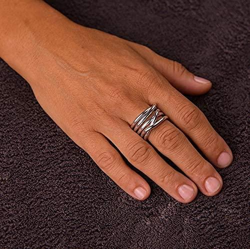 Anello artigianale,in alluminio anodizzato,pezzo unico!Modello Nodo Lunare Argento Lucido