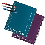 2 Left-Handed'Lefties Rule' Wide Ruled Notebooks Plus 3 Left-Handed Visio Pens, Assorted Colors