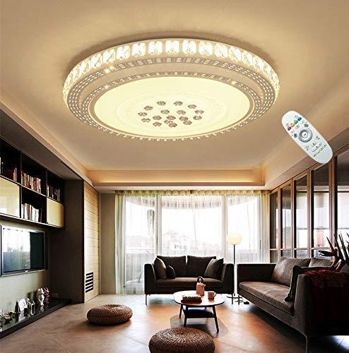 Europese en Amerikaanse plafondlamp LED ronde kristallen plafondlamp dimbaar met verwijderbare decoratieve woonkamer studie slaapkamer gang verlichting lampen, 62 cm