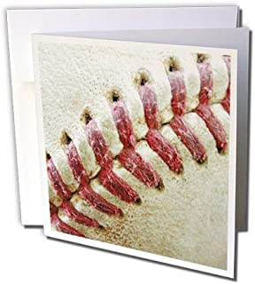 3dRose Closeup Red Seams On Baseball - Greeting Cards, 6 x 6 inches, set of 12 (gc_47841_2)