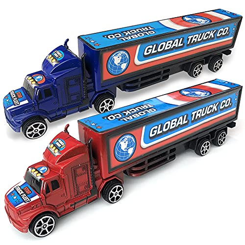 ArtCreativity Pullback Semi Truck Toys, Set of 2, Pull Back Truck Toys for Kids in Red and Blue, Trailer Trucks for Hours of Pretend Play, Unique Car Party Decorations and Boys' Room Decor