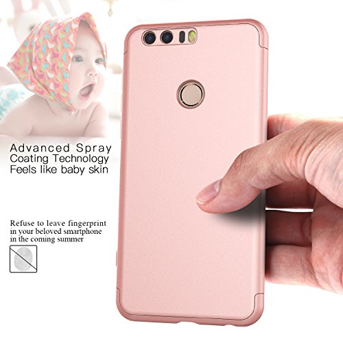CE-Link für Huawei Honor 8 Hülle Hardcase 3 in 1 Ultra Dünn 360 Full Body Schutz Schutzhülle Anti-Kratzer Elegant Stoßfest Hart PC Skin Rückdeckel Glatte Rückseite Bumper Handyhülle - Rosegold - 3