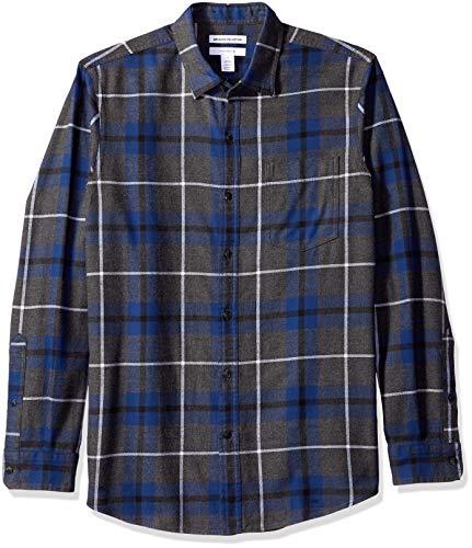 Amazon Essentials Men's Regular-Fit Long-Sleeve Plaid Flannel Shirt, Blue/Charcoal Heather, Medium