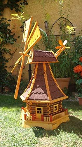 BTV Haus & Garten Windmühle 100 cm 1 Balkon, mit dickem rotem Bitumen, mit Windrad, Seitenruder, Windfahne, WMB-RAD100ro-OS,Windmühlen ohne/mit SOLAR Beleuchtung 1 m groß rot dunkelrot